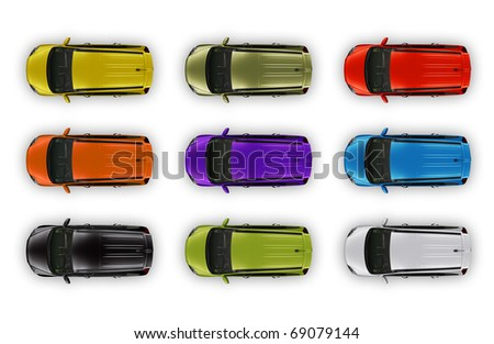 Top view automobiles package isolated on white