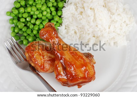 Top view barbecue chicken with vegetables