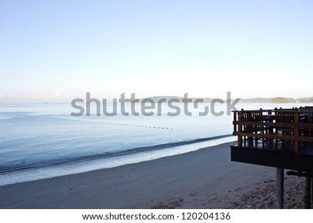 Top view beach at ao nang in the morning