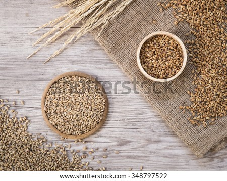 Top view - Beer ingredients, Pale ale and caramel malt on wooden background