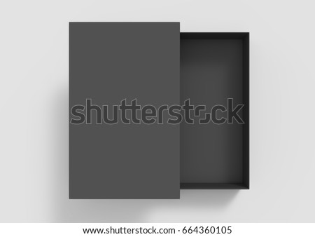 top view black 3d rendering blank rectangular box with separate lid, isolated gray background