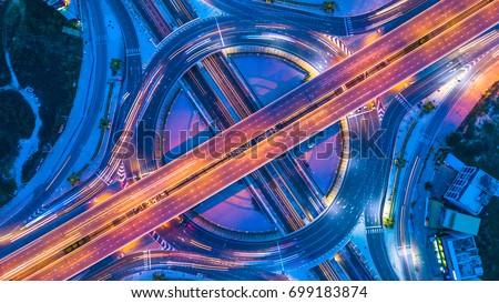 Top view city traffic of highway in Bangkok city, Bangkok, Thailand.