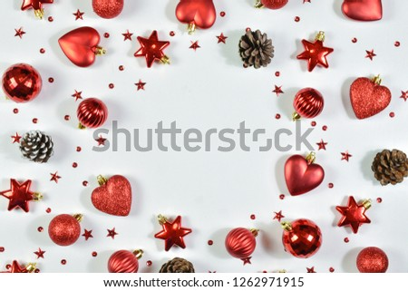 Top view close up of Christmas day composition. Valentine's Day background.  Flay lay to decoration Christmas on white background.  #1262971915