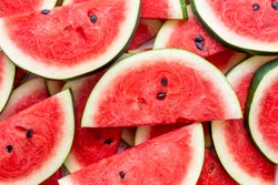 Top view. Close-up of fresh slices red watermelon.