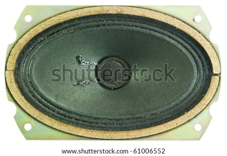 top view close up of retro black sound speaker isolated
