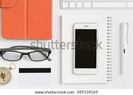 wide angle view busy design office. detail top view close up of stuff office supplies sort orderly on modern desk luxury workplace wide angle busy design