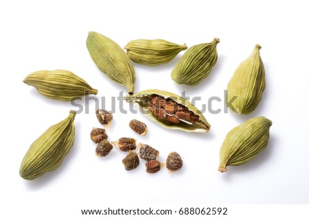 Top view close up photo image of group of cardamom isolate on white background, pods surface pattern, seeds skin texture
