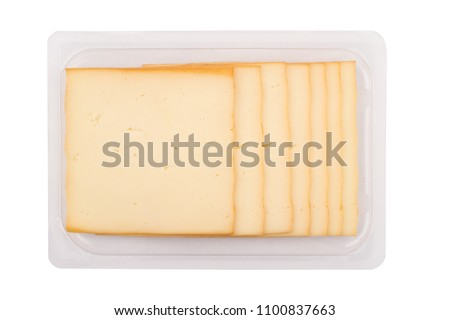 top view closeup of square cheese smoked slices in packaging isolated on white background