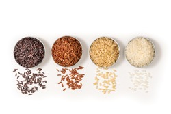 Top view closeup or macro various type and color rice white glutinous, black, basmati, Jasmine brown and thai red mixed rice, sushi rice on white background. Healthy food concept. Flat lay.