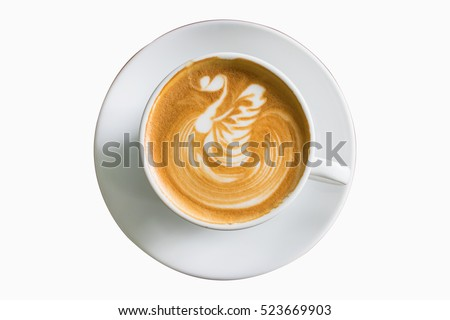Top view coffee latte art on white background isolated. #523669903