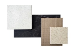 top view ,composition of interior finishing material including white and beige grained quartz stone ,ash wood veneer ,black cosmos  quartzite stone samples isolated on white background.