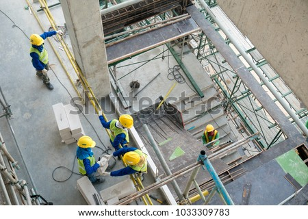 Top view construction worker in construction site