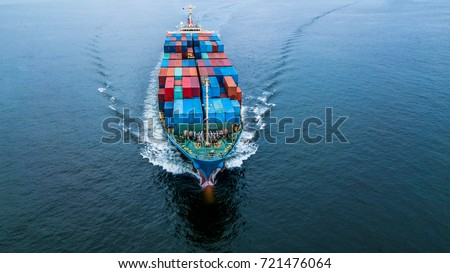Top view container ship of business freight import export logistic and transportation by container cargo ship, shot from drone.