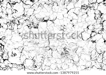 top view cracked soil ground Earth texture on white background, desert cracks,Dry surface Arid in drought land, floor has many grooves and scratches. The distressed has been shown to last a long time. #1387979255