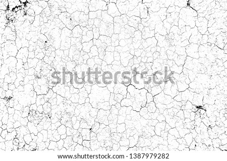 top view cracked soil ground Earth texture on white background, desert cracks,Dry surface Arid in drought land, floor has many grooves and scratches. The distressed has been shown to last a long time. #1387979282