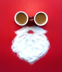 Top view creative Santa Claus made of coffee cup Sugar white beard on red background for Merry Christmas theme New Year celebrate Seasons Greetings decoration idea image design symbol on Happy holiday