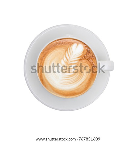 Top view - cup of coffee isolated on white background. #767851609