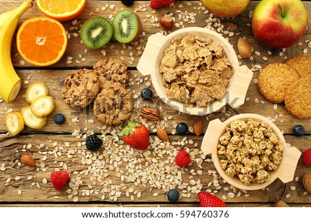 top view dietetic food breakfast on rustic kitchen table background #594760376