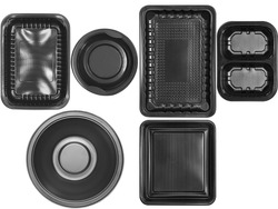 Top view different types of black trays isolated on white background - black plastic trays - trays food - microware trays