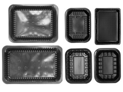 Top view different types of black trays isolated on white background - black plastic trays - trays food - microware trays with rectangle different size