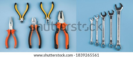 Top view different types of pliers and wrenches