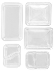 Top view different types of white trays isolated on white background - white plastic trays - trays food - microware trays