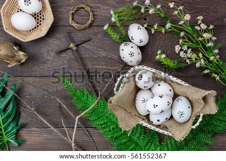 Top View Easter BackgroundHappy Eggs Painted Also Rabbit And Cross On Nest