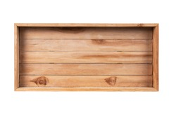 Top view empty wooden crate isolated on white background.