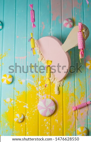 Top view, Flatlay template design of candy and icecreame on wooden background with copy space. Top view, Flatlay template design a group of sweets #1476628550