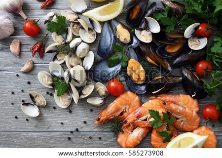 top view fresh seafood clams,mussels and prawns