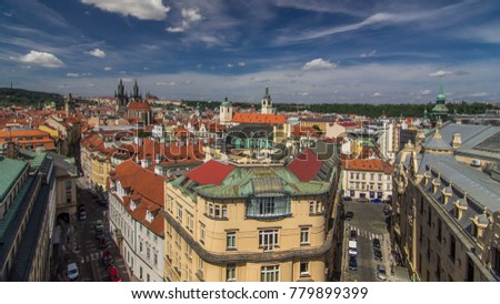 Top view from the height Powder Tower in Prague timelapse to Old Town. Historical and cultural monument. The place is particularly popular among tourists. Prague, Czech Republic. #779899399