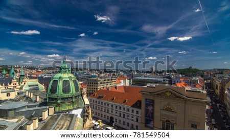 Top view from the height Powder Tower in Prague to Republic square with Municipal House. Historical and cultural monument. The place is particularly popular among tourists. Prague, Czech #781549504