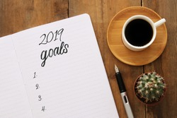 Top view 2019 goals list with notebook, cup of coffee over wooden desk