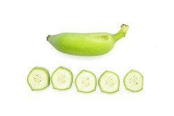 Top view Green Pisang Awak banana standing with banana slice isolated on white background.
