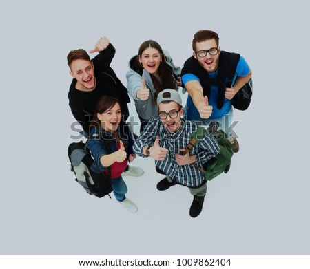 Top view. Happy smiling young group looking at camera. #1009862404