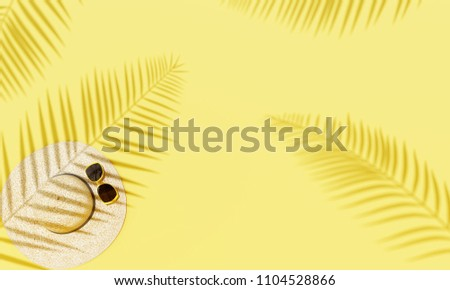 Top view hat and sunglasses on yellow background with sunlight and shadow of coconut leaves. travel concept - Shutterstock ID 1104528866