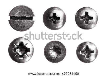 Top view heads of screws metal on a white background.  rivets isolated. Components of the graphic design. #697981150