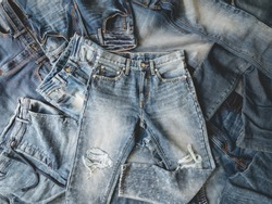 top view Heap of blue jeans, Jeans background