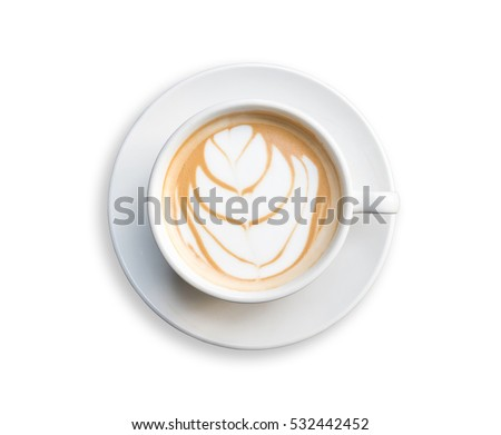 Top view hot latte coffee in white cup. Isolated on white background. Saved with clipping path