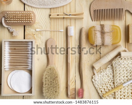 Top view hygiene items arrangement