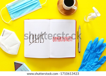 top view image of open notebook with the text opportunity. concept of think different, innovation and creativity during covid-19 coronavirus crisis