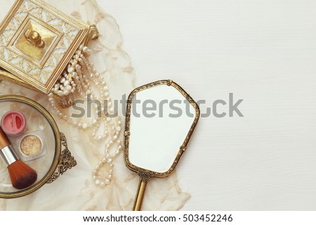 top view image of vintage woman ...