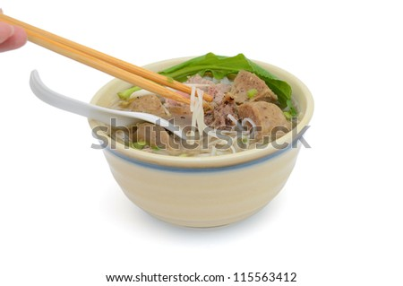 Top view: in cultural 'pho' noodle soup of vietnam food