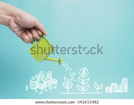 Top view Investment is like planting trees. Take care it will provide a good growth on colorful backgound.Watering can and money tree drawn concept for business investment, savings and making money.