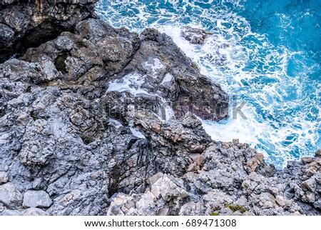top view landscape of blue...