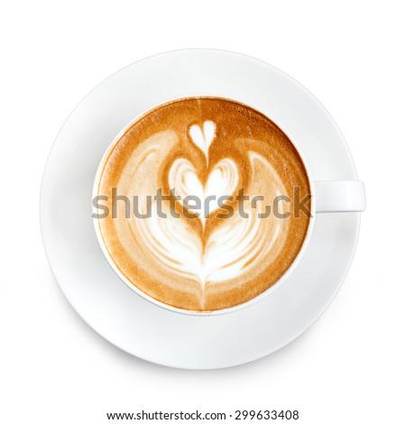 Top view latte art coffee