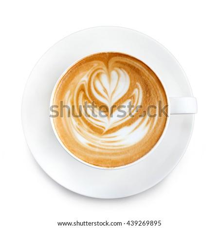 Top view latte art coffee #439269895