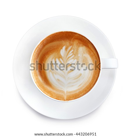 Top view latte art coffee on white background  #443206951