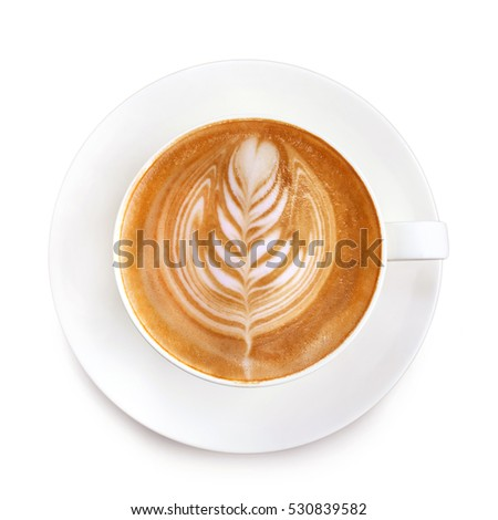Top view latte art coffee on white background