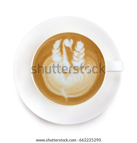 Top view latte art coffee on white background #662225290